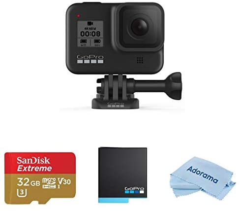 41HHwIq2uhL. AC  - GoPro HERO8 Black, Waterproof Action Camera with Touch Screen 4K UHD Video 12MP Photos (CHDHX-801), Bundle with 2 Batteries, 32GB microSD Card, Microfiber Cloth