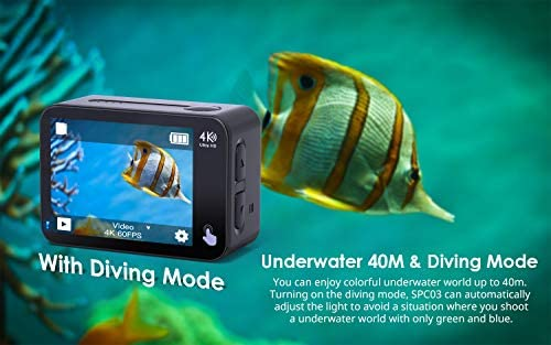 41K5xmOLObL. AC  - COOAU Native 4K 60fps 20MP Touch Screen WiFi Action Sport Camera EIS Stabilization Underwater Waterproof Cam with External Microphone Remote Control 2x1350Amh Batteries