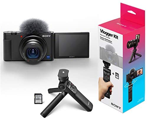 41PQG4SUUoL. AC  - Sony ZV-1 Compact Digital 4K Camera Vlogger Creator's Kit ACCVC1 Includes GP-VPT2BT Shooting Grip with Wireless Remote Commander + 64GB Card DCZV1/B Bundle Deco Gear Case + LED Light and Accessories