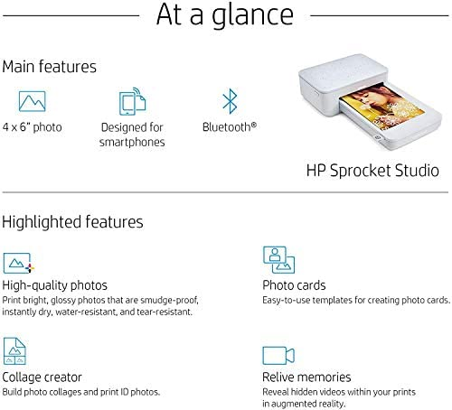 """41Z+xHt 2jL. AC  - HP Sprocket Studio 4x6"""" Instant Photo Printer – Print Photos from Your iOS, Android Devices & Social Media"""