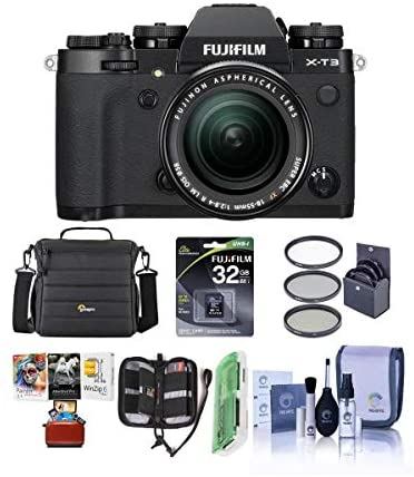 41Z0zeuJL3L. AC  - Fujifilm X-T3 26.1MP Mirrorless Camera with XF 18-55mm f/2.8-4 R LM OIS Lens, Black - Bundle with 32GB SDHC Card, Camera Case, 58mm Filter Kit, Cleaning Kit, Card Reader, Mac Software Pack and More