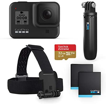 41ZBFfrkoKL. AC  - GoPro HERO8 Black Bundle - Includes HERO8 Black Camera, Shorty, Head Strap, 32GB SD Card, and 2 Rechargeable Batteries