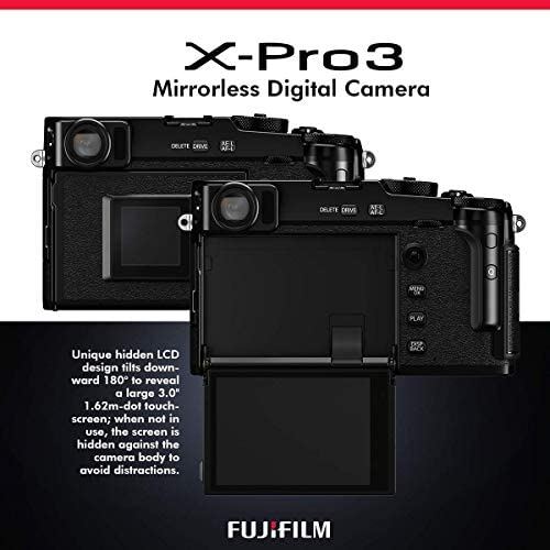 41bV4YWZXRL. AC  - FUJIFILM X-Pro3 Mirrorless Digital Camera (Black) + Camera Bag, 64GB Memory Card, Xpix Memory Card Case, Xpix Camera Shoulder Strap with Quick Release & Xpix Deluxe Cleaning Accessories