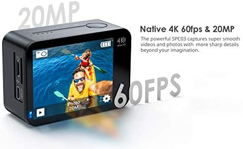 41nslDTGCZL. AC  - COOAU Native 4K 60fps 20MP Touch Screen WiFi Action Sport Camera EIS Stabilization Underwater Waterproof Cam with External Microphone Remote Control 2x1350Amh Batteries