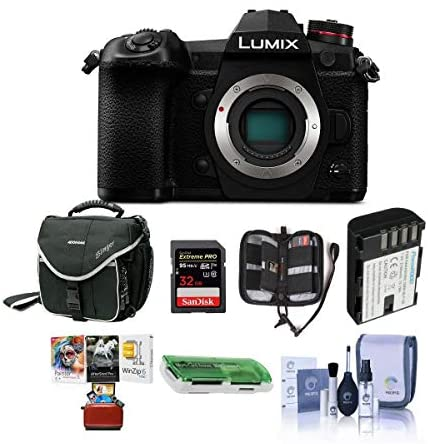 41qCBVZrLpL. AC  - Panasonic Lumix G9 Mirrorless Camera Body, Black - Bundle with 32GB SDHC U3 Card, Spare Battery, Camera Case, Cleaning Kit, Memory Wallet, Card Reader, Mac Software Package