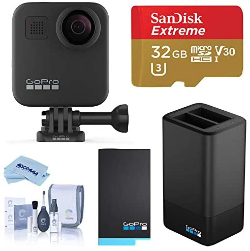 41tZbyhCLAL. AC  - GoPro MAX Waterproof 360 Camera with Touch Screen, 5.6K30 UHD Video 16.6MP Photos Bundle with Dual Charger, Extra Battery, 32GB microSD Card, Cleaning Kit