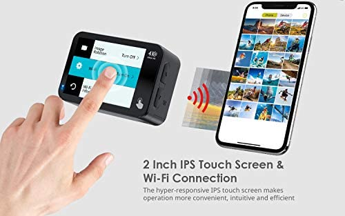 41vO+3RBC6L. AC  - COOAU Native 4K 60fps 20MP Touch Screen WiFi Action Sport Camera EIS Stabilization Underwater Waterproof Cam with External Microphone Remote Control 2x1350Amh Batteries
