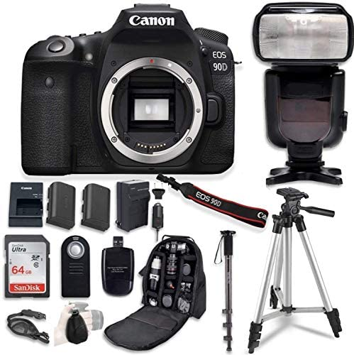 510FTcSZUbL. AC  - Canon EOS 90D Digital SLR Camera Bundle (Body Only) with Professional Accessory Bundle (14 Items)