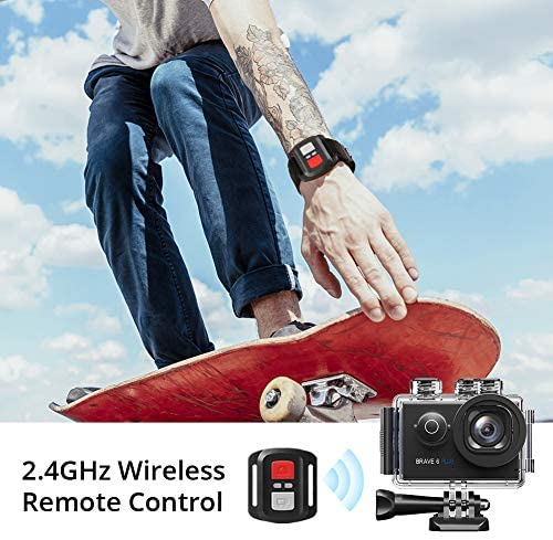 512bLQRdi+L. AC  - AKASO Brave 6 Plus Native 4K30FPS 20MP WiFi Action Camera with Touch Screen EIS 8X Zoom Voice Control Remote Control 131 Feet Underwater Camera with 2X 1350mAh Batteries and Helmet Accessories Kit