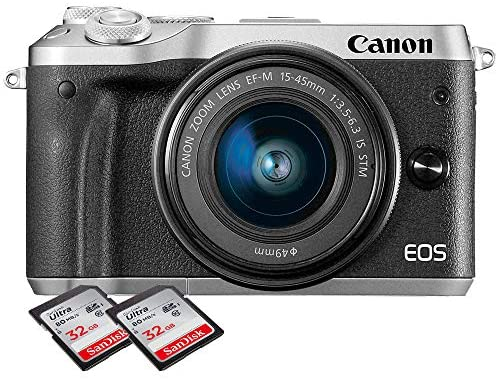 5138xEPc0gL. AC  - Canon EOS M6 Mirrorless Digital Camera with 15-45mm Lens with 2X 32GB