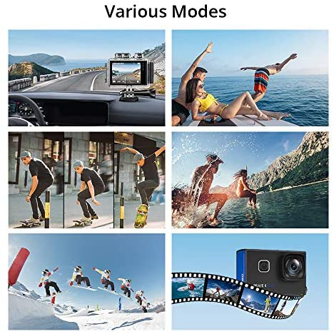515R8A56oCL. AC  - AKASO Brave 6 Plus Native 4K30FPS 20MP WiFi Action Camera with Touch Screen EIS 8X Zoom Voice Control Remote Control 131 Feet Underwater Camera with 2X 1350mAh Batteries and Helmet Accessories Kit
