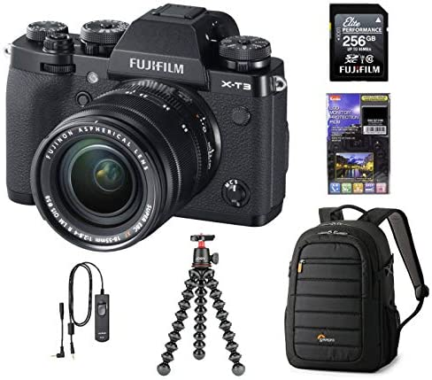 515qRZKOGqL. AC  - Fujifilm X-T3 Mirrorless Digital Camera with XF 18-55mm Lens, Black, Bundle with 256GB SD Card + Lowepro Backpack + Joby GorillaPod 3K Kit RR-100 Remote Release + LCD Monitor Protector