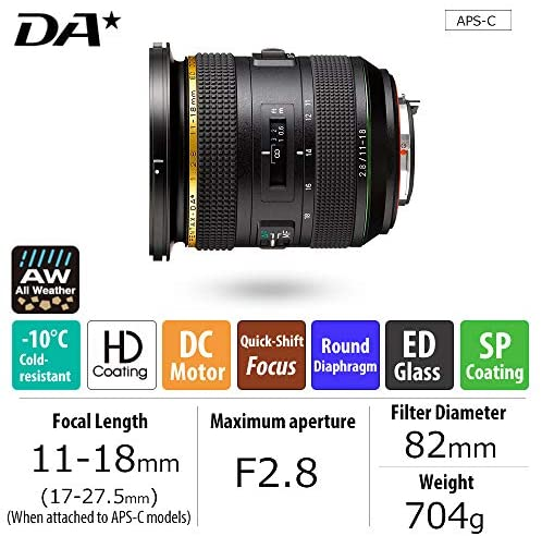 516ZXSQvj7L. AC  - HD PENTAX-DA11-18mmF2.8ED DC AW Ultra-wide-angle zoom lens 17-27.5mm (Equivalent to 35mm format) All Weather resistant Extra-sharp High-contrast images Free of flare and ghost images Smooth, quiet AF