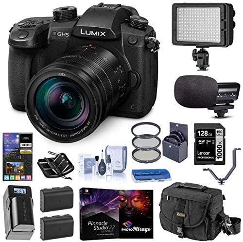 516uy1ma2BL. AC  - Panasonic LUMIX GH5 4K Mirrorless Digital Camera w/Leica 12-60mm F/2.8-4.0 O.I.S Lens, (DC-GH5LK) Bundle with Light, Mic, Bag, 2 Battery, Charger, Corel Software, Filter, 128GB SD Card, + Accessories