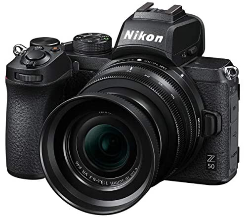 51B9JwRkjuL. AC  - Nikon Z 50 DX-Format Mirrorless Camera with 16-50mm VR Lens, Essential Bundle with FTZ Mount Adapter, Case, Filter Kit, 64GB SD Card, Neck Strap and Accessories
