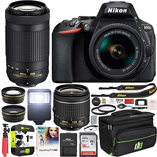 51D+VdrReCL. AC  - Nikon D5600 DSLR Wi-Fi Digital SLR Camera with Double Zoom 2 Lens Kit AF-P 18-55mm VR & 70-300mm ED + 0.43x Wide Angle Lens + Lens + Case + 1 Year Extended Protection Plan and Accessory Bundle