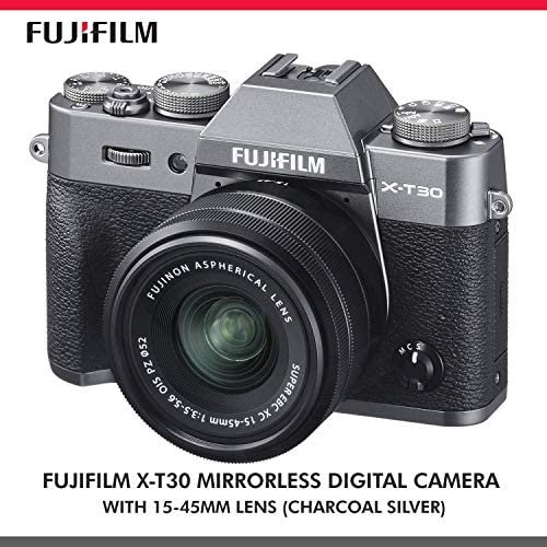 51DPVTw8HcL. AC  - Fujifilm X-T30 4K Wi-Fi Mirrorless Digital Camera with XC 15-45mm Lens Kit - Charcoal Silver with 64GB Deluxe Bundle and Travel Photo Cleaning Kit