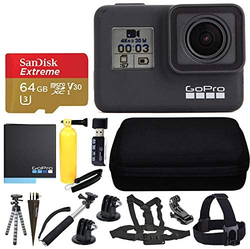 51Eqd+LRIYL. AC  - GoPro HERO7 Black Sports Action Camera + SanDisk 64GB Extreme UHS-I microSDXC Memory Card + Hard Case + Head Strap & Chest Strap + Spike Mount + Floating Handle + Monopod + Top Value Accessories!