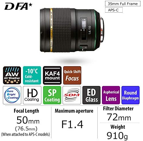 51G9vtJlGEL. AC  - HD PENTAX-D FA50mmF1.4 SDM AW Single-focus standard lens New-generation, Star-series lens Extra-sharp, high-contrast images Free of flare and ghost images, Black