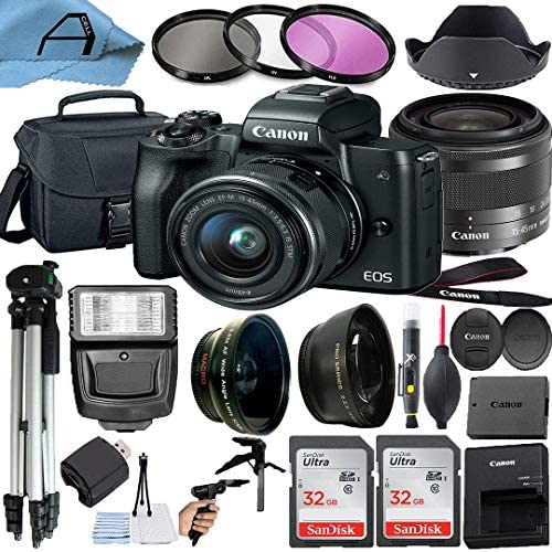 51GytlUOOVL. AC  - Canon EOS M50 Mirrorless Digital Camera with EF-M 15-45mm is STM Zoom Lens + 2 Pack SanDisk 32GB Memory Card + Case + Tripod + A-Cell Accessory Bundle (Black)