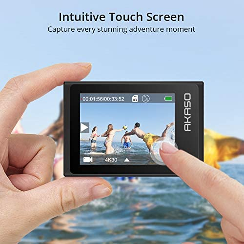 51JA10LcD7L. AC  - AKASO Brave 6 Plus Native 4K30FPS 20MP WiFi Action Camera with Touch Screen EIS 8X Zoom Voice Control Remote Control 131 Feet Underwater Camera with 2X 1350mAh Batteries and Helmet Accessories Kit
