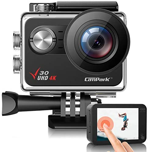 51M eYGPscL. AC  - Campark V30 Native 4K Action Camera 20MP EIS Touch Screen WiFi Waterproof PC Webcam with Optional View Angle, 2 1350mAh Batteries and Mounting Accessories Kit