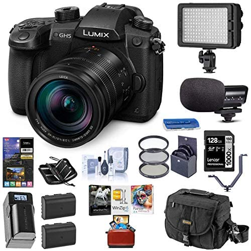 51MMCiahhzL. AC  - Panasonic LUMIX GH5 4K Mirrorless Digital Camera with Leica 12-60mm F/2.8-4.0 Lens, (DC-GH5LK) Bundle with Light, Mic, Bag, 2 Battery, Charger, Mac Software Kit, Filter, 128GB SD Card, + Accessories