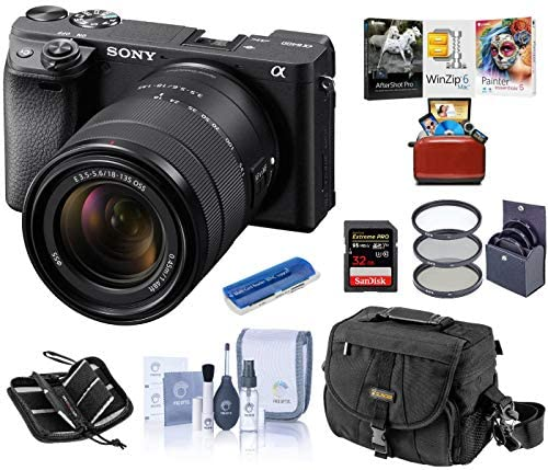 51NziEQBT8L. AC  - Sony Alpha a6400 Mirrorless Digital Camera with 18-135mm f/3.5-5.6 OSS Lens, Bundle with Camera Bag + Filter Kit + 32GB SD Card + SD Card Case + Corel Mac Software Kit + Cleaning Kit + Card Reader