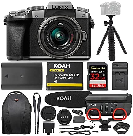 51OwiXp4y7S. AC  - Panasonic LUMIX G7 Interchangeable Lens (DSLM) Camera with 14-42mm Lens (Silver) and Koah Mic Bundle (6 Items)