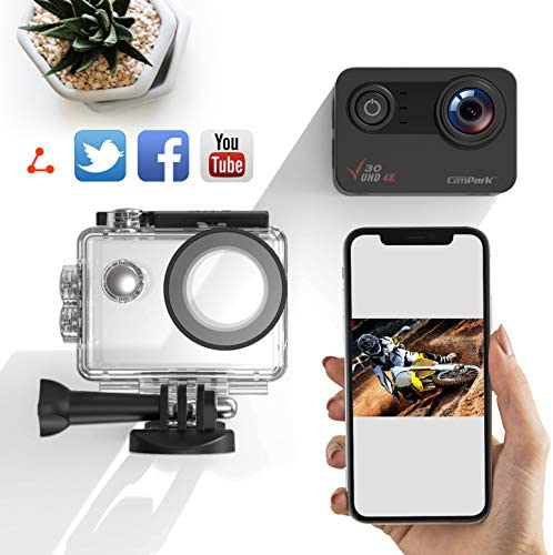 51S2L5uttRL. AC  - Campark V30 Native 4K Action Camera 20MP EIS Touch Screen WiFi Waterproof PC Webcam with Optional View Angle, 2 1350mAh Batteries and Mounting Accessories Kit