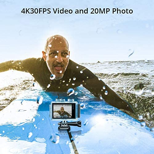 51TkFa3+y2L. AC  - AKASO Brave 6 Plus Native 4K30FPS 20MP WiFi Action Camera with Touch Screen EIS 8X Zoom Voice Control Remote Control 131 Feet Underwater Camera with 2X 1350mAh Batteries and Helmet Accessories Kit