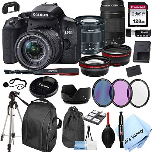 51W6yMW1H9L. AC  - Canon EOS 850D (Rebel T8i)DSLR Camera with 18-55mm f/4-5.6 IS STM Zoom Lens + 75-300mm F/4-5.6 III Lens + 128GB Card, Filters, 2X Telephoto Lens, HD Wide Angle Lens, Hood, Lens Pouch, and More (28pcs)