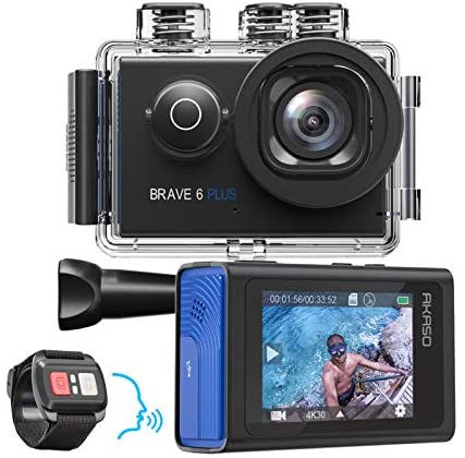 51WM1Fl+BnL. AC  - AKASO Brave 6 Plus Native 4K30FPS 20MP WiFi Action Camera with Touch Screen EIS 8X Zoom Voice Control Remote Control 131 Feet Underwater Camera with 2X 1350mAh Batteries and Helmet Accessories Kit
