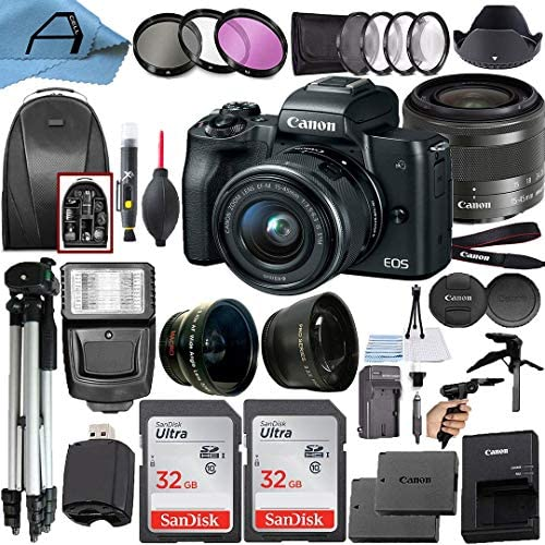 51a3a0c3QyL. AC  - Canon EOS M50 Mirrorless Digital Vlogging Camera with EF-M 15-45mm is STM Zoom Lens + 2 Pack SanDisk 32GB Memory Card + Backpack + Tripod + Flash + A-Cell Accessory Bundle (Black)