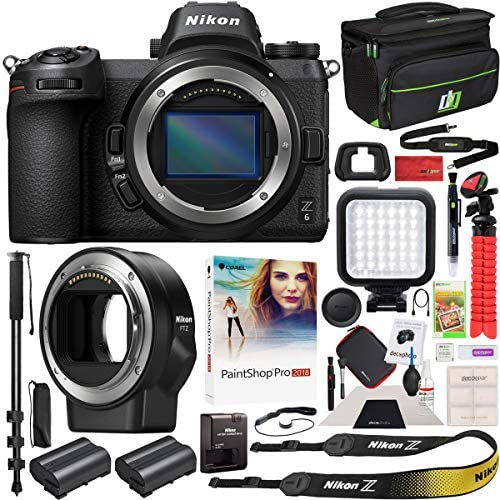 51a74lc4H2L. AC  - Nikon Z6 Mirrorless Camera Body FX-Format Full-Frame 4K Ultra HD with FTZ Mount Adapter for F-Mount Lenses and Deco Gear Travel Gadget Bag Case + Extra Battery & Accessory Kit Editing Software Bundle