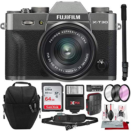 51bYL1E80SL. AC  - Fujifilm X-T30 4K Wi-Fi Mirrorless Digital Camera with XC 15-45mm Lens Kit - Charcoal Silver with 64GB Deluxe Bundle and Travel Photo Cleaning Kit