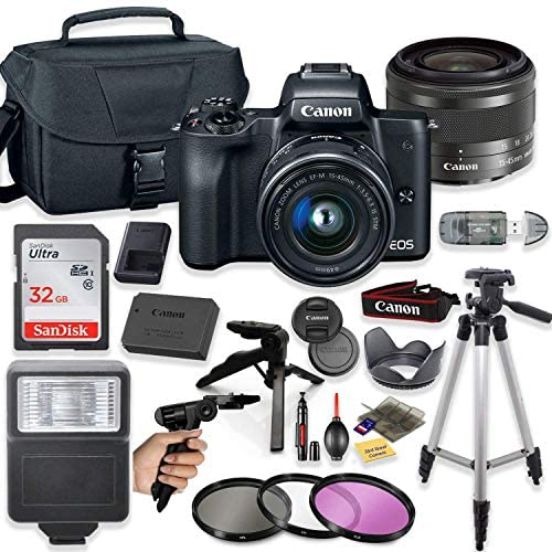 """51c0hC2shaL. AC  - Canon EOS M50 Mirrorless Digital Camera (Black) with 15-45mm STM Lens + Deluxe Accessory Bundle Including Sandisk 32GB Card, Canon Case, Flash, Grip Multi Angle Tripod, 50"""" Tripod, Filters and More."""