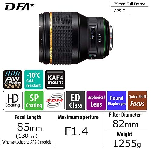 51c11RUOJWL. AC  - Pentax HD PENTAX-D FA85mmF1.4ED SDM Prime Telephoto lens New-generation, Star-series lens Latest PENTAX Lens coating technologies Extra-sharp, high-contrast images Free of flare and ghost images