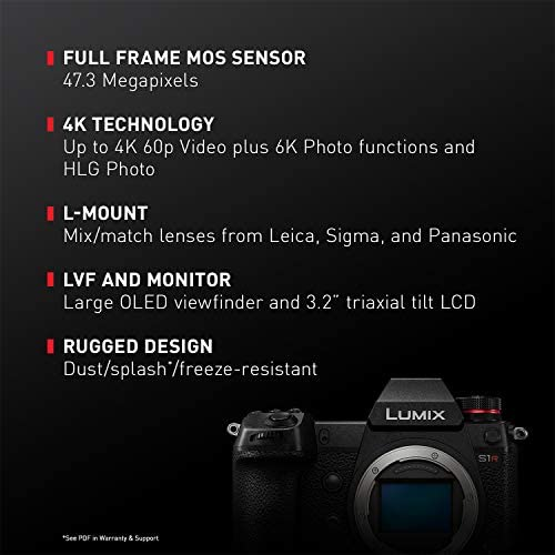 """51c6oa21dzL. AC  - Panasonic LUMIX S1R Full Frame Mirrorless Camera with 47.3MP MOS High Resolution Sensor, L-Mount Lens Compatible, 4K HDR Video and 3.2"""" LCD - DC-S1RBODY"""