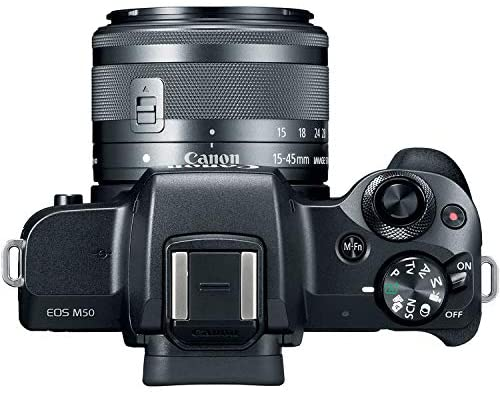 """51d +vom6uL. AC  - Canon EOS M50 Mirrorless Digital Camera (Black) with 15-45mm STM Lens + Deluxe Accessory Bundle Including Sandisk 32GB Card, Canon Case, Flash, Grip Multi Angle Tripod, 50"""" Tripod, Filters and More."""