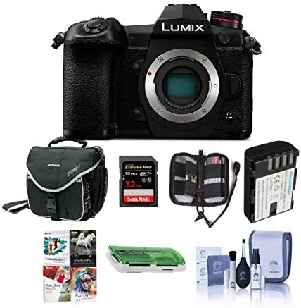 51eBbFhqY0L. AC  - Panasonic Lumix G9 Mirrorless Camera Body, Black - Bundle with 32GB SDHC U3 Card, Spare Battery, Camera Case, Cleaning Kit, Memory Wallet, Card Reader, PC Software Package