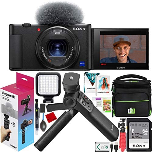 51ekmiKSy0L. AC  - Sony ZV-1 Compact Digital 4K Camera Vlogger Creator's Kit ACCVC1 Includes GP-VPT2BT Shooting Grip with Wireless Remote Commander + 64GB Card DCZV1/B Bundle Deco Gear Case + LED Light and Accessories