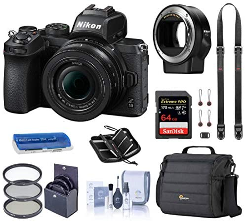 51fPCmWdKUL. AC  - Nikon Z 50 DX-Format Mirrorless Camera with 16-50mm VR Lens, Essential Bundle with FTZ Mount Adapter, Case, Filter Kit, 64GB SD Card, Neck Strap and Accessories