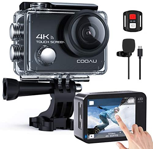 51ot38jEHeL. AC  - COOAU Native 4K 60fps 20MP Touch Screen WiFi Action Sport Camera EIS Stabilization Underwater Waterproof Cam with External Microphone Remote Control 2x1350Amh Batteries
