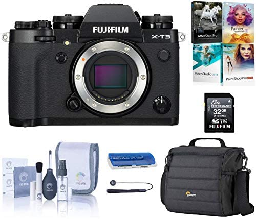 51pCOwVJ5PL. AC  - Fujifilm X-T3 4K Mirrorless Digital Camera, Black (Body Only), Bundle with Lowepro Camera Bag + 32GB SD Card + PC Software Kit + ProOptic Cleaning Kit + Card Reader + Cap Tether