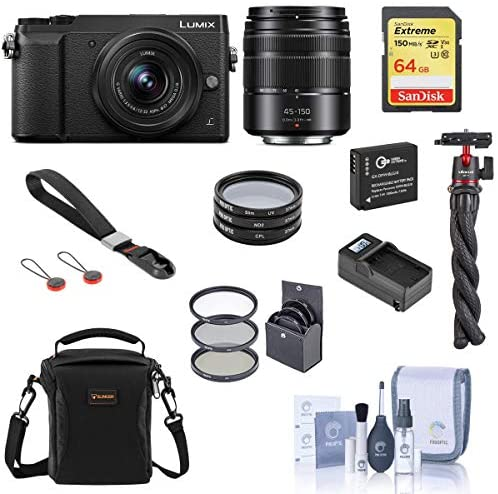 51wCVCGaefL. AC  - Panasonic Lumix DMC-GX85 Mirrorless Camera, Black, with 12-32mm and 45-150mm Lens Bundle with Bag, 64GB SD Card, Wrist Strap, Tripod, Filter Kit, Extra Battery and Accessories