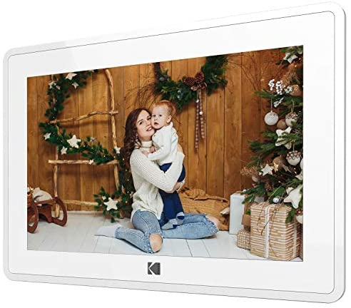51xt2KbkMDL. AC  - Kodak 10-Inch Touch Screen Digital Picture Frame, Wi-Fi Enabled with 16GB of internal memory, HD Photo Display and Music/Video Support Plus Clock, Calendar, Weather and Location Updates - Whilte