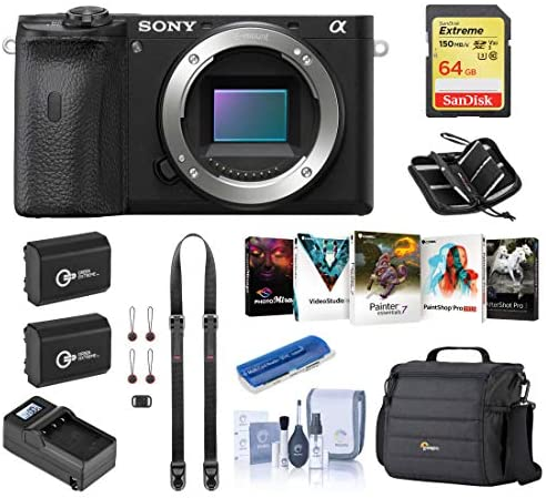 51yRdz8SrAL. AC  - Sony Alpha a6600 Mirrorless Digital Camera Body (ILCE6600/B) Essential Bundle with Bag, 2 Extra Batteries, Charger, 64GB SD Card, and Accessories