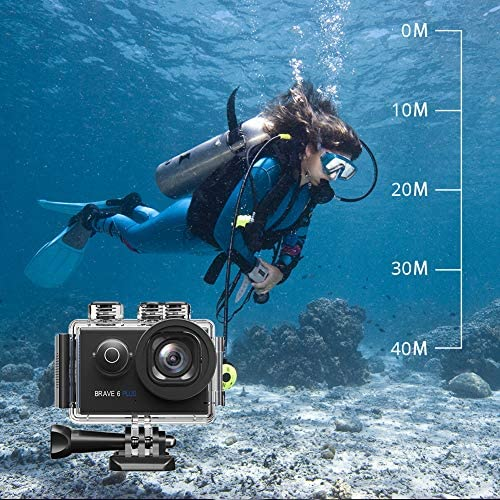 61Coj1bPEAL. AC  - AKASO Brave 6 Plus Native 4K30FPS 20MP WiFi Action Camera with Touch Screen EIS 8X Zoom Voice Control Remote Control 131 Feet Underwater Camera with 2X 1350mAh Batteries and Helmet Accessories Kit