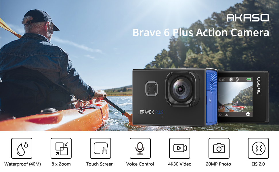 8033b902 5ea2 4618 9a13 4ced94fb1c60.  CR0,0,970,600 PT0 SX970 V1    - AKASO Brave 6 Plus Native 4K30FPS 20MP WiFi Action Camera with Touch Screen EIS 8X Zoom Voice Control Remote Control 131 Feet Underwater Camera with 2X 1350mAh Batteries and Helmet Accessories Kit